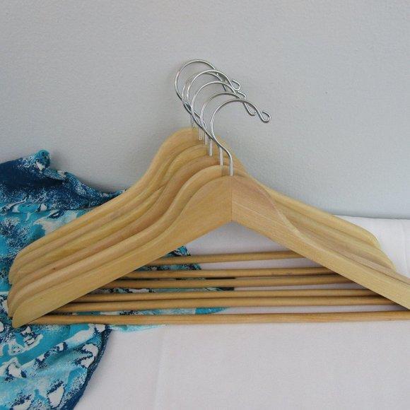 Set of 7 Natural Wood Suit Hangers (2nd of 2 sets)